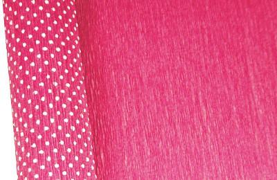 Бумага гофрированная с белыми точками розовая