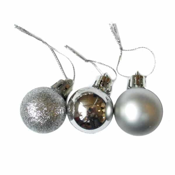Набор елочных шаров 3 шт цвет серебро