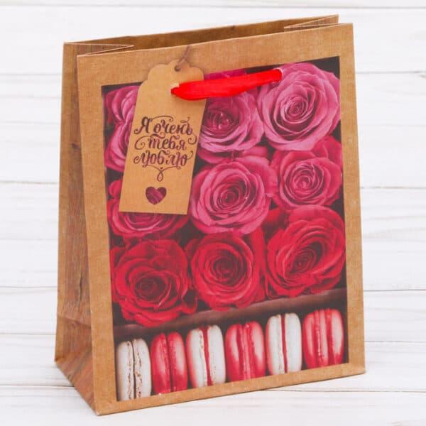 Крафт-пакет «Я тебя люблю», 12?15?6 см