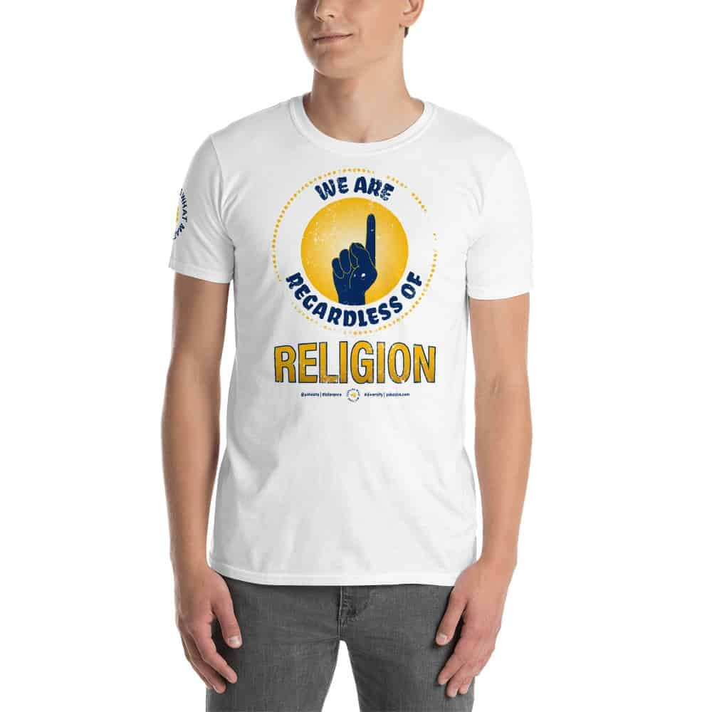Graphic Short Sleeve T-Shirt Expressing: We are 1 Regardless of Religion