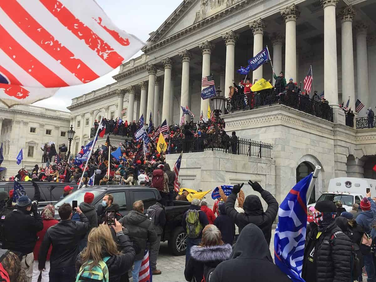 Pro-Trump protesters seen on and around U.S. Capitol building in Washington, D.C., on Jan. 6, 2021.
