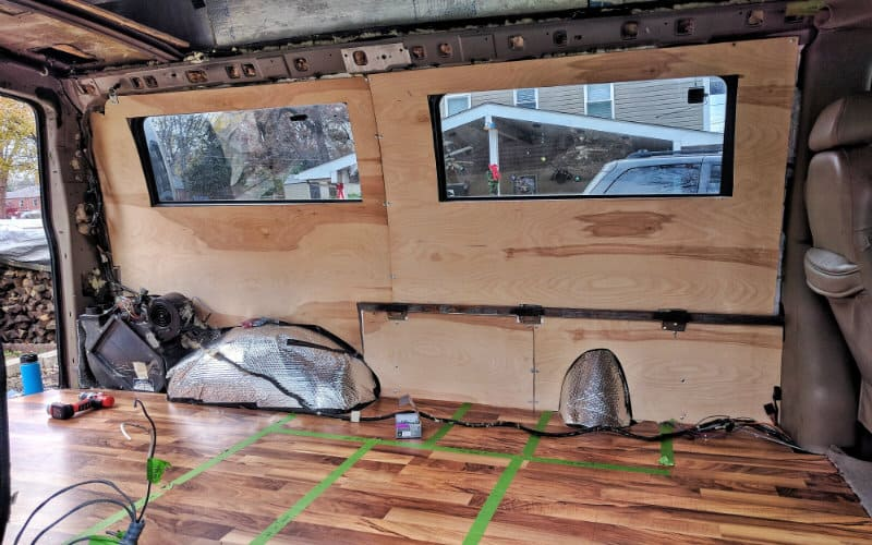 DIY Van Conversion: Installing Plywood Walls in Our Van