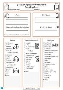 Capsule Wardrobe Packing List