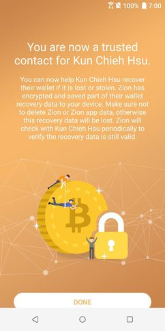 Zion Wallet has a Social Recovery Feature. Image: Google Playstore