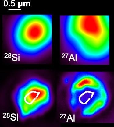 Four panels showing a stardust grain in false colour