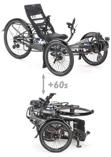 foldable recumbent comfort trike scorpion plus 26