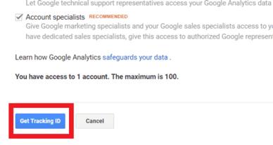 set up analytics tracking id