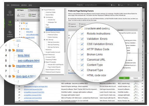 Recursos de revisão do SEO PowerSuite.