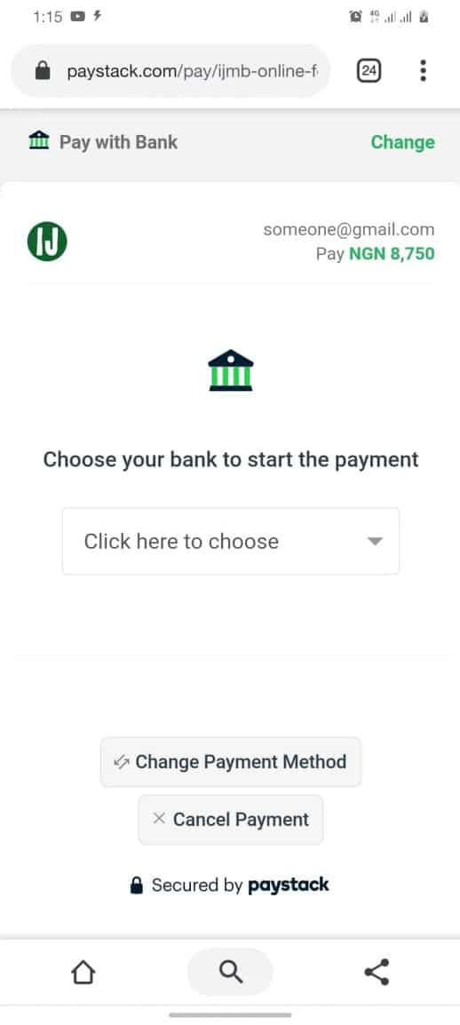 IJMB Form pay with bank