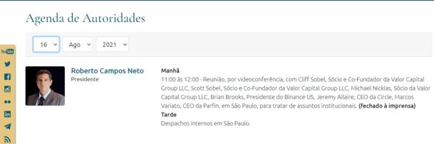 Agenda for the President of Brazil's Central Bank. Image: Brazil's Central Bank