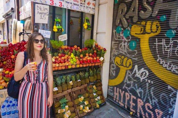 Allison in Turkey drinking pomegranate juice