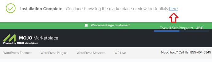 اكتمل تثبيت iPage WordPress