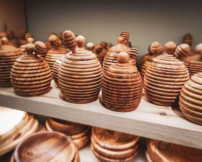 Greece - Crete - Heraklion - Souvenir Honey Jars Olive Wood