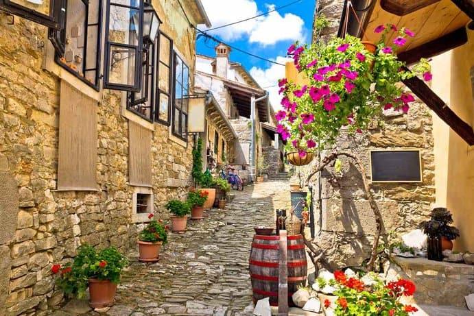 Croatia - Istria  - Town of Hum colorful old stone street, Istria, Croatia