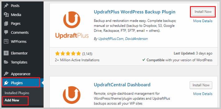 install updraftplus