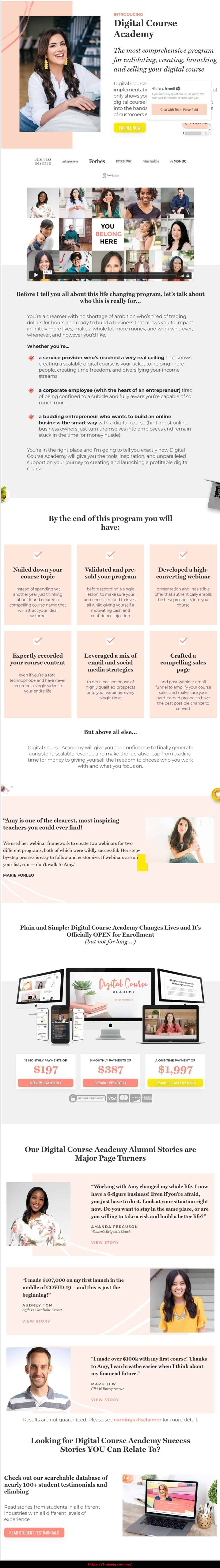 Digital Course Academy 2021 by Amy Porterfield sales page