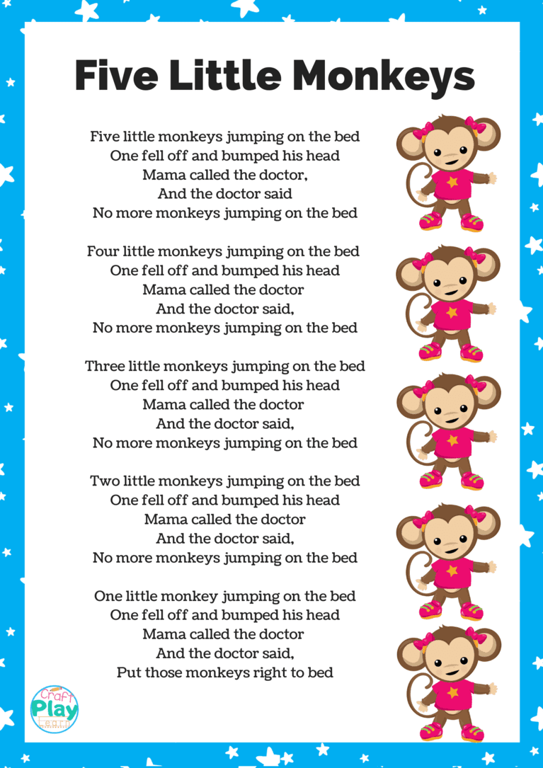 Five Little Monkeys Printable And Activity Ideas Craft Play Learn