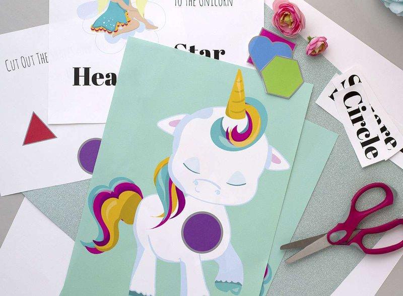 Unicorn shape matching printable