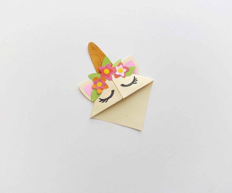marque-page licorne origami