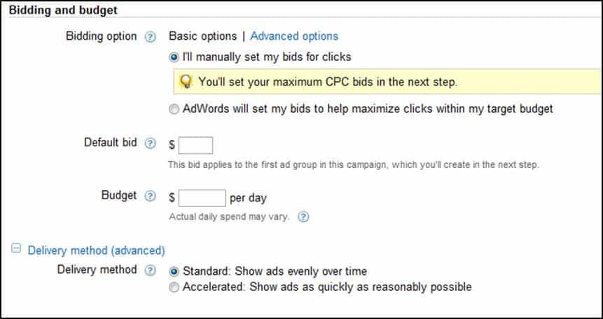 Bidding and Budget Options on Google AdWords