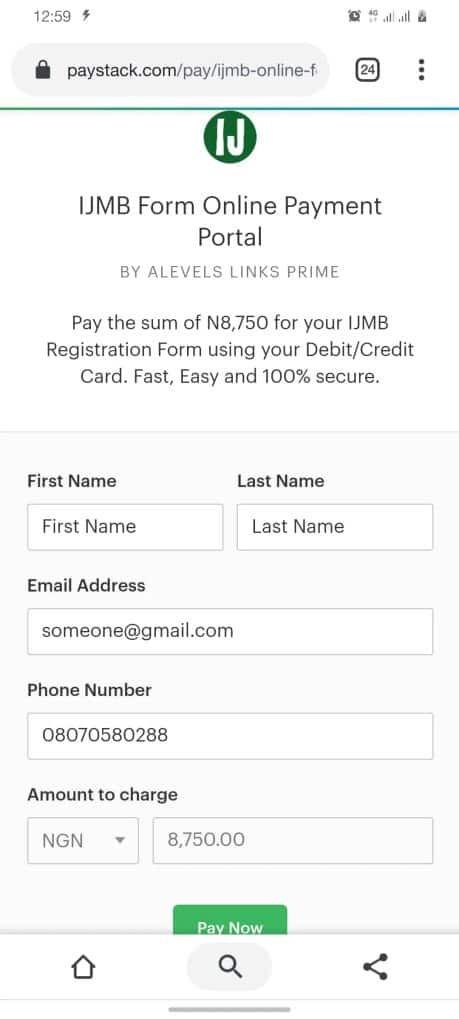 IJMB form data