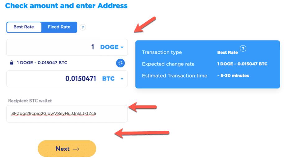 kaip konvertuoti dogecoin į bitcoin indėlių mokestis btc
