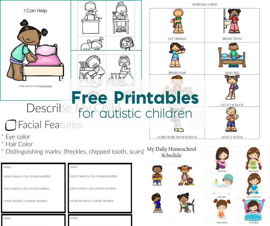 Free Printables For Autistic Children And Their Families Or Caregivers