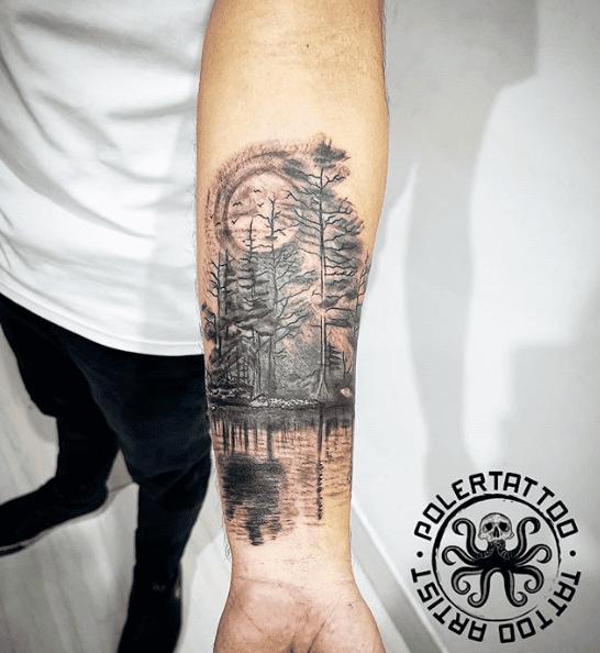 Pine tree tattoo tights