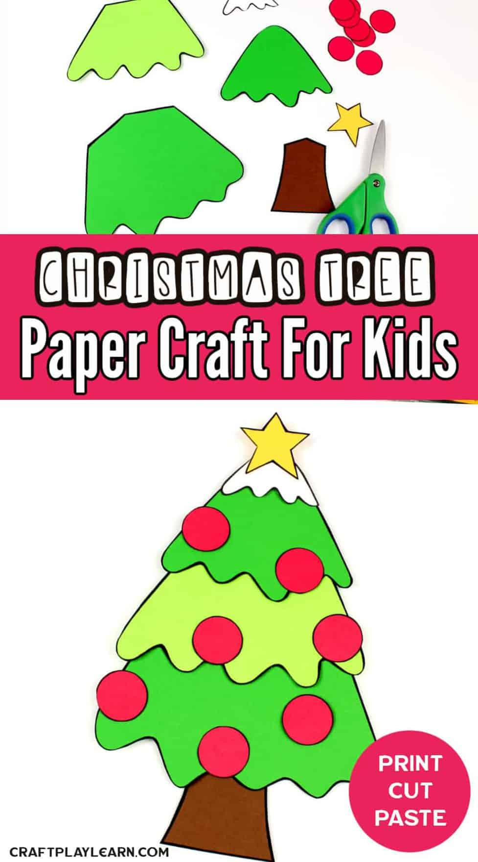 Paper Christmas Tree Craft And Writing Activity Craft Play Learn
