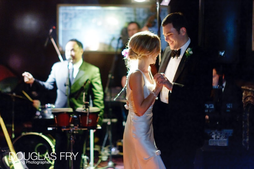 Bride and groom dancing during wedding at Mosimanns in London