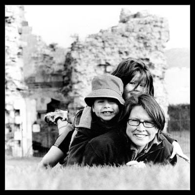 black and white family portrait photograph taken on Hasselblad