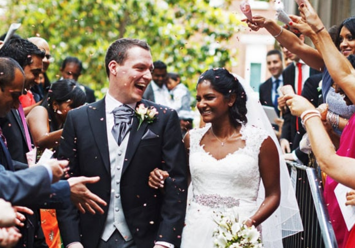 Wedding Photograph of couple with confetti at Inner Temple