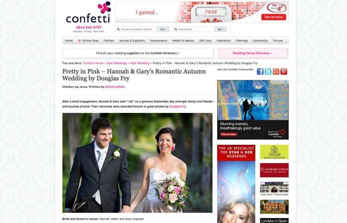 Confetti Real Wedding on Website