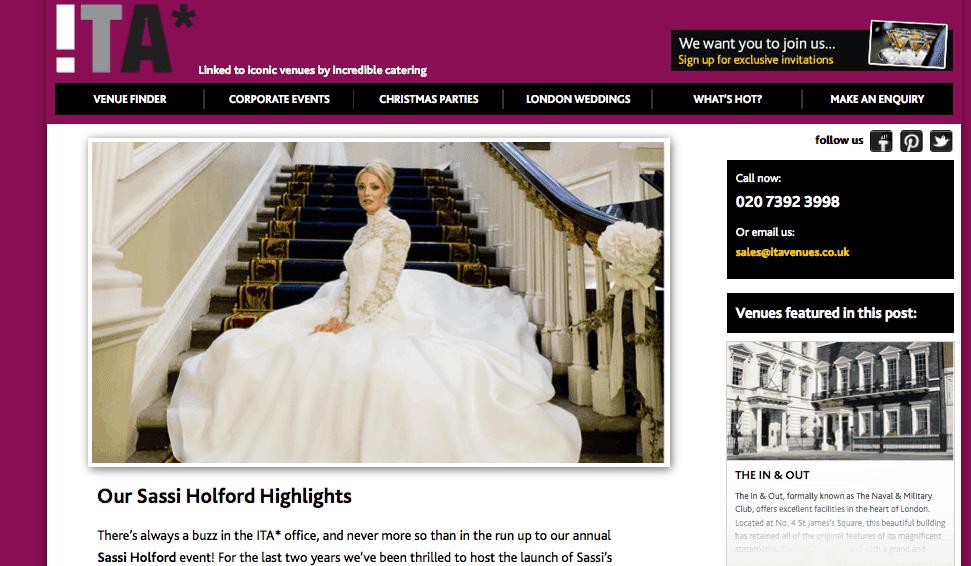 Sassi Holford Bridal Show 2014 London