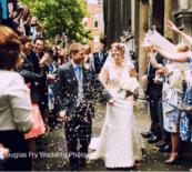 St Bride's Church wedding photographer - confetti shot