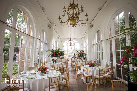 The inside of the Orangery - ready for lunch party