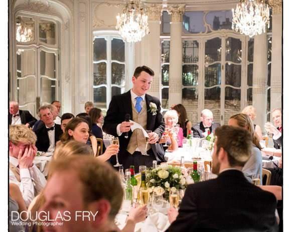 Speeches during wedding breakfast at Savile Club