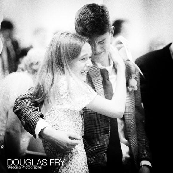 Tears of happiness from the grooms children