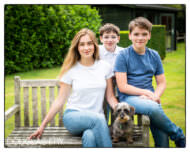 Wiltshire Family photography in garden with pet dog