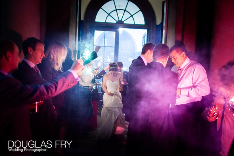 Bride leaving HAC with fireworks