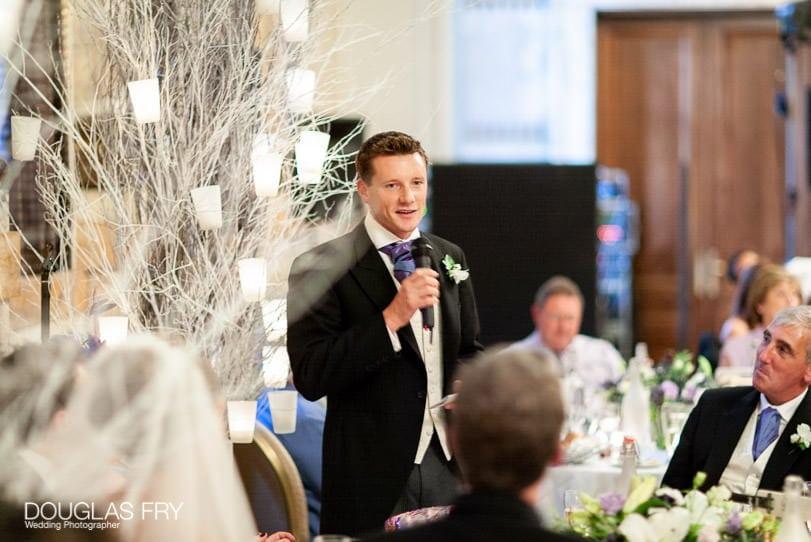 Wedding Photographer One Great George Street London - bestman speaking