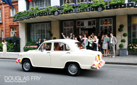 car leaving claridges at end of wedding