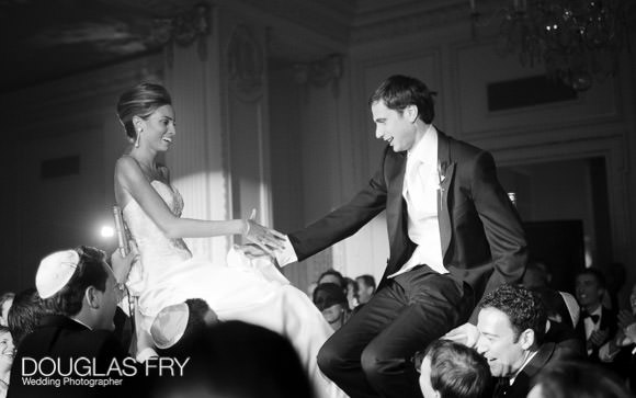 Jewish dancing photograph of groom and bride