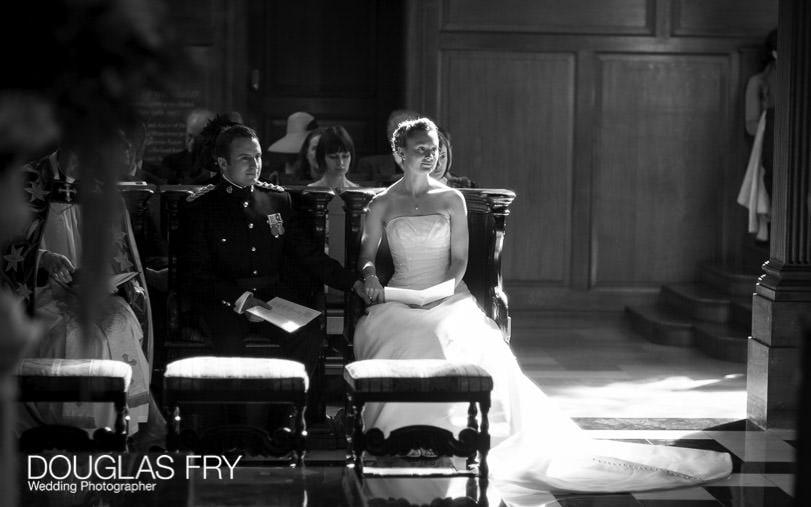 wedding photographer st brides church in london - bride and groom in black and white