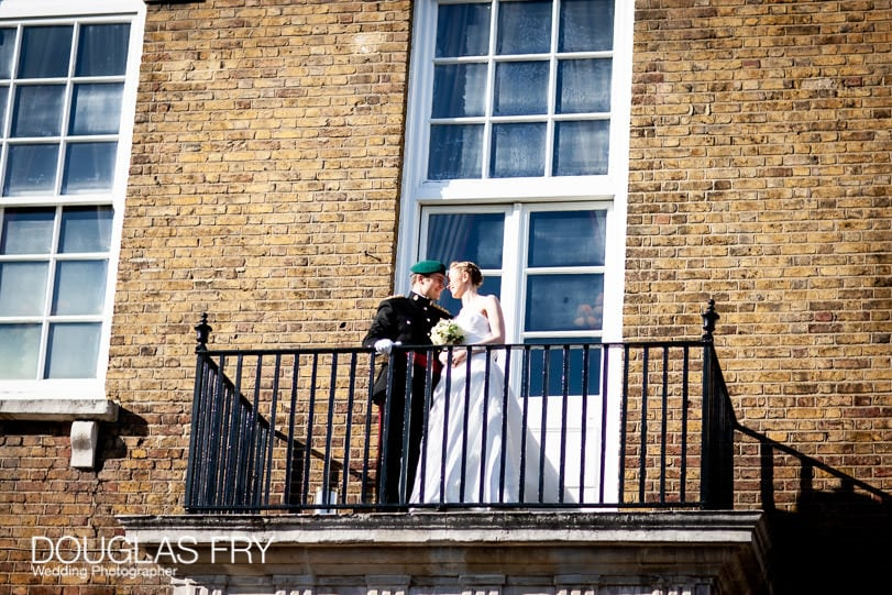 Bride and groom at the HAC in London