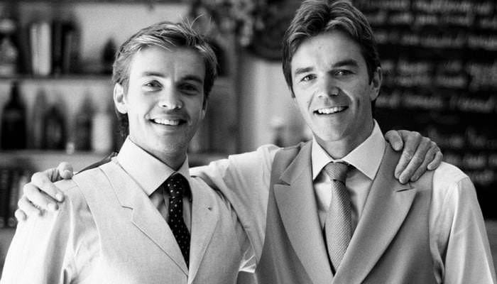 Wedding Photograph of Rich and his brother in black and white