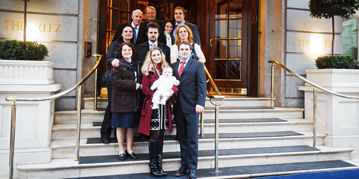 Photograph outside Ritz, Mayfair during Christening