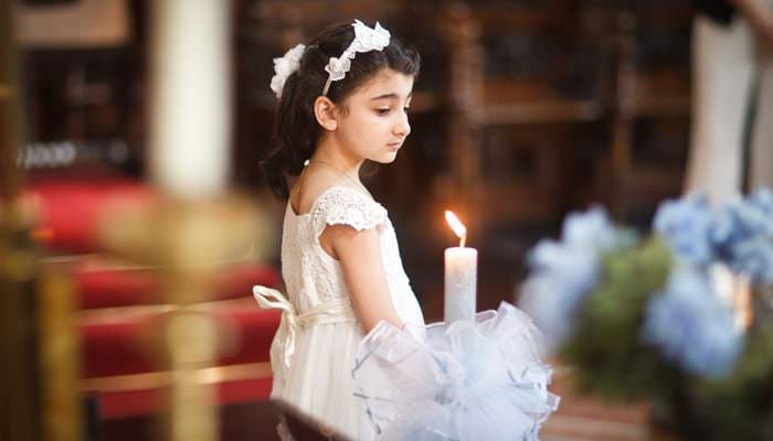 Christening Photograph at Greek Cathedral St Sophia - Girl with Candle