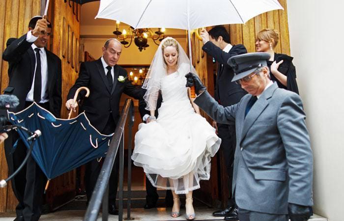 Wedding Photograph of Bride leaving Synagogue, London
