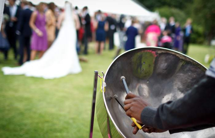 Wedding Photograph of Bride and Steel Band